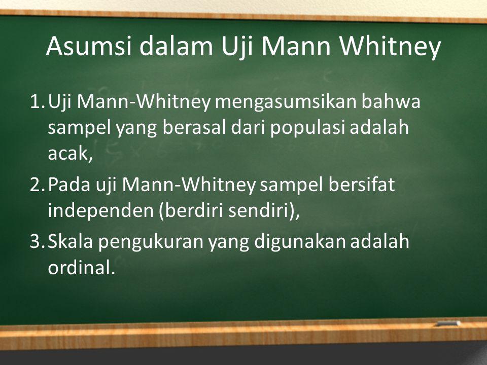 Asumsi dalam Uji Mann Whitney 1.Uji Mann-Whitney mengasumsikan bahwa sampel yang berasal dari populasi adalah acak, 2.Pada uji Mann-Whitney sampel ber
