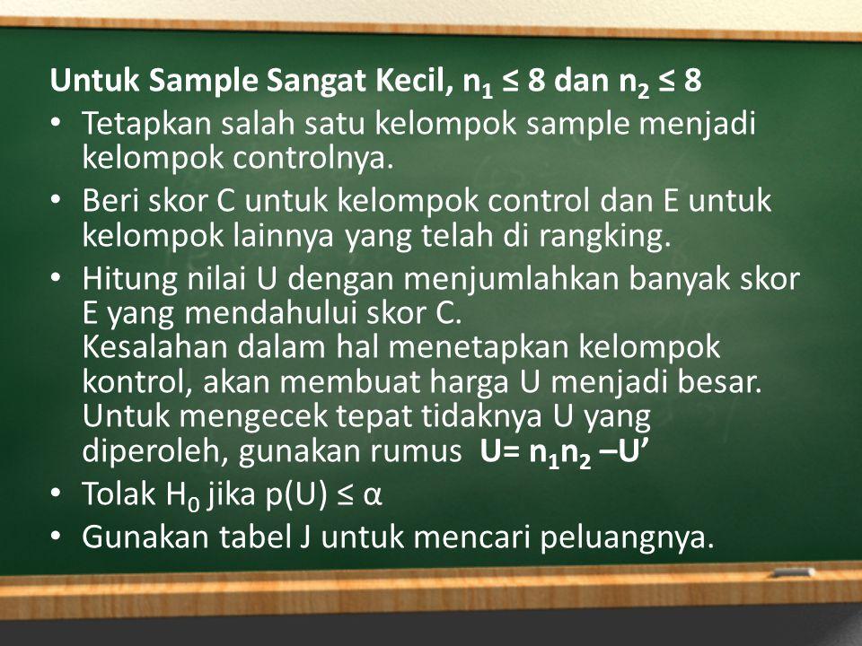 Untuk sample kecil.