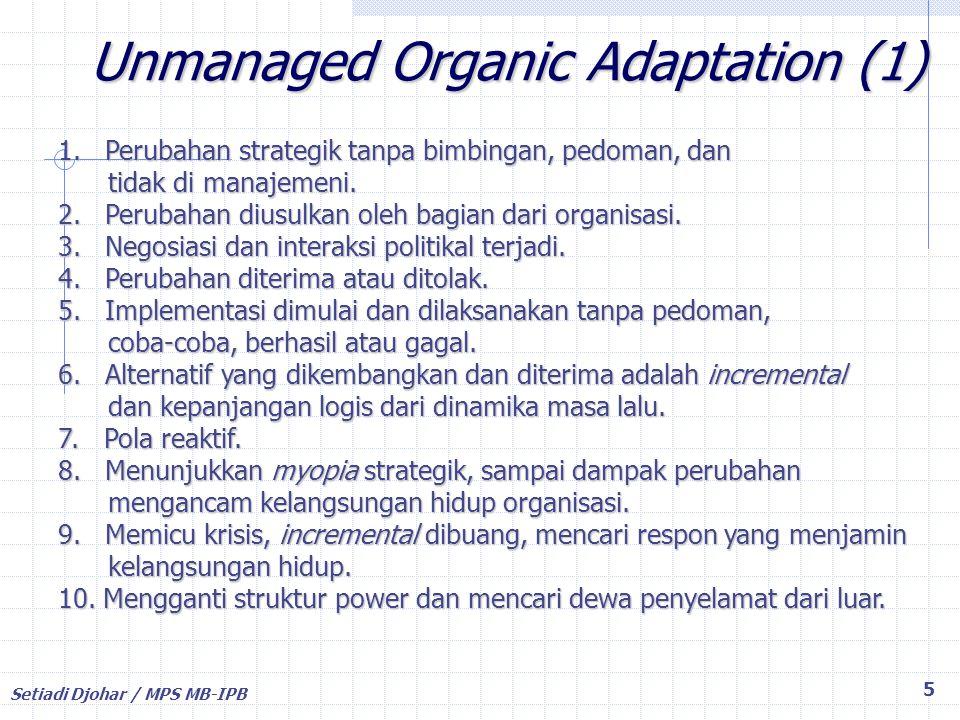 Setiadi Djohar / MPS MB-IPB 46 PERUBAHAN dan 7S McKinsey Strategy : Cara organisasi mencapai tujuan Structure : Pembagian tugas, fungsi, wewenang System : Peraturan, prosedur, mekanisme kerja Skills : Keterampilan SDM Staff : Alokasi dan penempatan SDM Style : Gaya manajemen, kepemimpinan Shared Values : Nilai-nilai yang mengikat