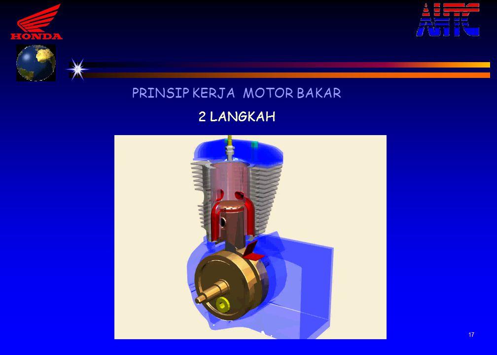 16 PRINSIP KERJA MOTOR BAKAR 2 LANGKAH 2 Langkah usaha & buang Dibawah piston Setengah putaran kedua atau 360 , piston bergerak dari TMA ke TMB Langk