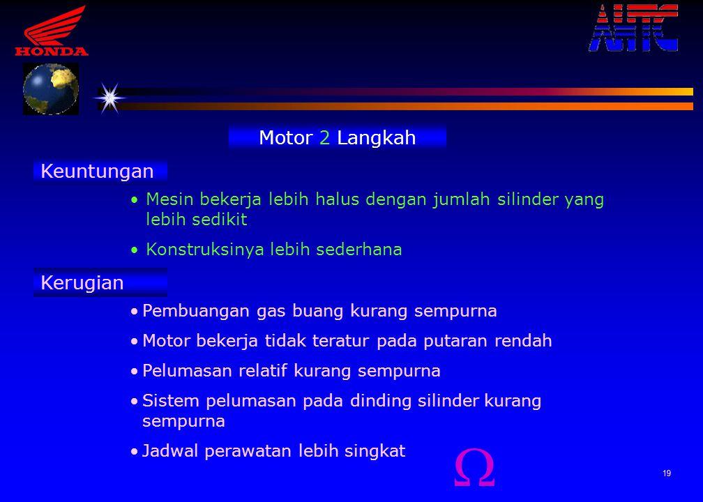 18 Motor 4 Langkah Keuntungan Efisien dalam penggunaan Bahan Bakar Motor bekerja lebih halus pada putaran rendah Perolehan tenaga lebih maksimum Siste
