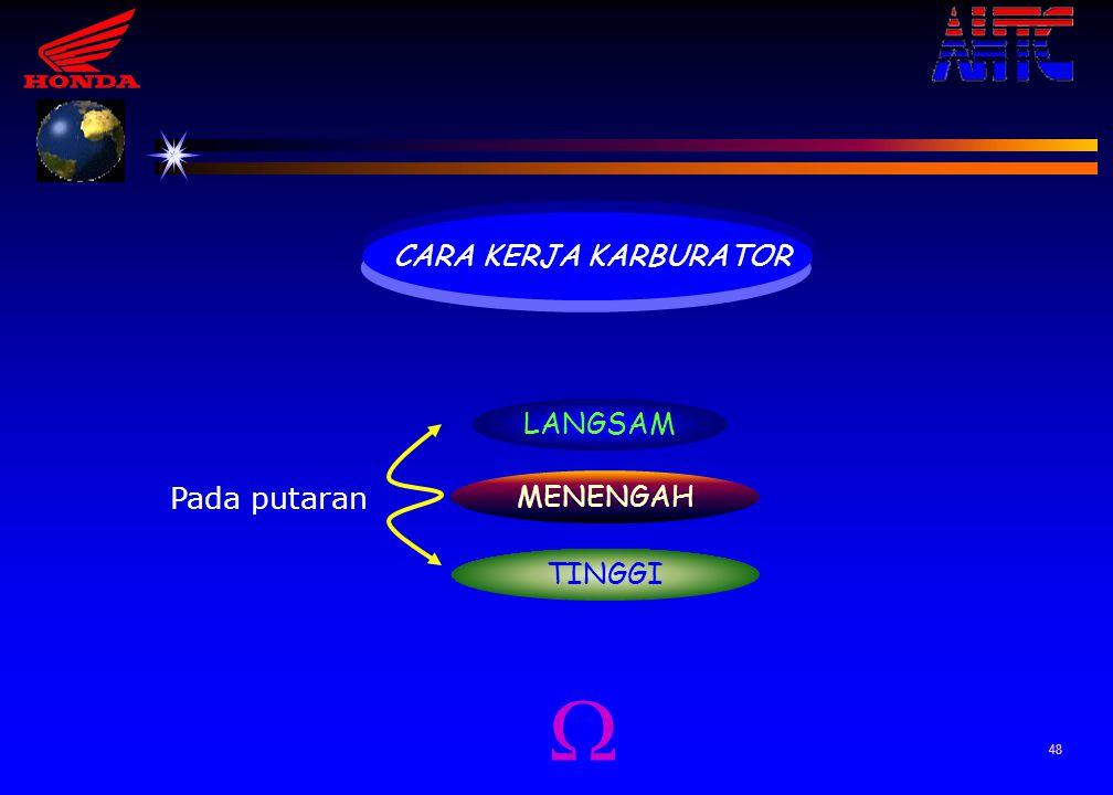 47 8.POMPA AKSELERASI Berfungsi untuk menambah bahan bakar saat mesin mengalami perubahan kecepatan putaran, dari putaran rendah ke putaran tinggi. Pe