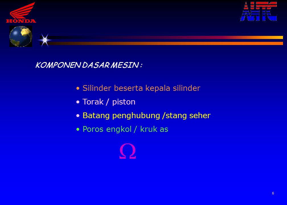 6 KOMPONEN DASAR MESIN : Silinder beserta kepala silinder Torak / piston Batang penghubung /stang seher Poros engkol / kruk as 