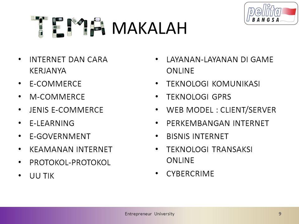 MAKALAH INTERNET DAN CARA KERJANYA E-COMMERCE M-COMMERCE JENIS E-COMMERCE E-LEARNING E-GOVERNMENT KEAMANAN INTERNET PROTOKOL-PROTOKOL UU TIK LAYANAN-L