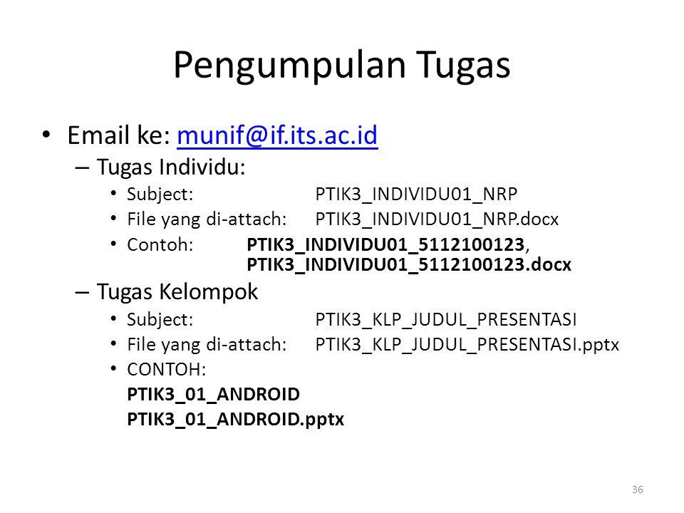 Pengumpulan Tugas Email ke: munif@if.its.ac.idmunif@if.its.ac.id – Tugas Individu: Subject: PTIK3_INDIVIDU01_NRP File yang di-attach: PTIK3_INDIVIDU01