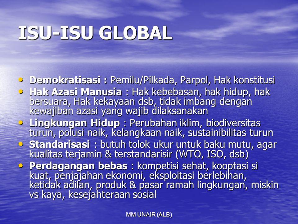 MM UNAIR (ALB) ISU-ISU GLOBAL Demokratisasi : Pemilu/Pilkada, Parpol, Hak konstitusi Demokratisasi : Pemilu/Pilkada, Parpol, Hak konstitusi Hak Azasi Manusia : Hak kebebasan, hak hidup, hak bersuara, Hak kekayaan dsb, tidak imbang dengan kewajiban azasi yang wajib dilaksanakan Hak Azasi Manusia : Hak kebebasan, hak hidup, hak bersuara, Hak kekayaan dsb, tidak imbang dengan kewajiban azasi yang wajib dilaksanakan Lingkungan Hidup : Perubahan iklim, biodiversitas turun, polusi naik, kelangkaan naik, sustainibilitas turun Lingkungan Hidup : Perubahan iklim, biodiversitas turun, polusi naik, kelangkaan naik, sustainibilitas turun Standarisasi : butuh tolok ukur untuk baku mutu, agar kualitas terjamin & terstandarisir (WTO, ISO, dsb) Standarisasi : butuh tolok ukur untuk baku mutu, agar kualitas terjamin & terstandarisir (WTO, ISO, dsb) Perdagangan bebas : kompetisi sehat, kooptasi si kuat, penjajahan ekonomi, eksploitasi berlebihan, ketidak adilan, produk & pasar ramah lingkungan, miskin vs kaya, kesejahteraan sosial Perdagangan bebas : kompetisi sehat, kooptasi si kuat, penjajahan ekonomi, eksploitasi berlebihan, ketidak adilan, produk & pasar ramah lingkungan, miskin vs kaya, kesejahteraan sosial