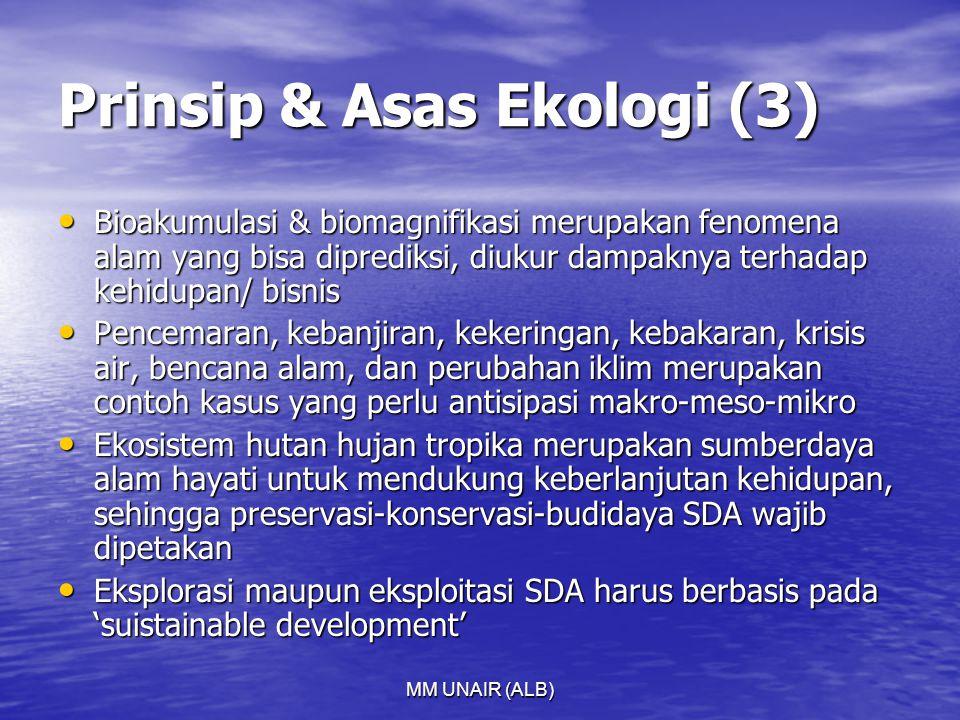 MM UNAIR (ALB) Prinsip & Asas Ekologi (3) Bioakumulasi & biomagnifikasi merupakan fenomena alam yang bisa diprediksi, diukur dampaknya terhadap kehidu