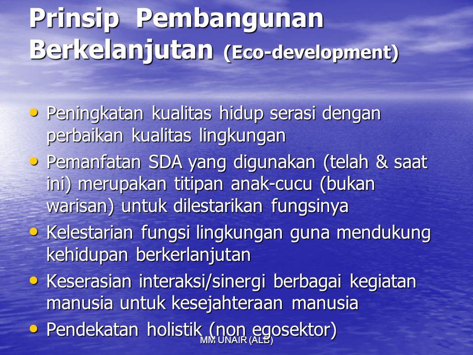 MM UNAIR (ALB) Prinsip Pembangunan Berkelanjutan (Eco-development) Peningkatan kualitas hidup serasi dengan perbaikan kualitas lingkungan Peningkatan kualitas hidup serasi dengan perbaikan kualitas lingkungan Pemanfatan SDA yang digunakan (telah & saat ini) merupakan titipan anak-cucu (bukan warisan) untuk dilestarikan fungsinya Pemanfatan SDA yang digunakan (telah & saat ini) merupakan titipan anak-cucu (bukan warisan) untuk dilestarikan fungsinya Kelestarian fungsi lingkungan guna mendukung kehidupan berkerlanjutan Kelestarian fungsi lingkungan guna mendukung kehidupan berkerlanjutan Keserasian interaksi/sinergi berbagai kegiatan manusia untuk kesejahteraan manusia Keserasian interaksi/sinergi berbagai kegiatan manusia untuk kesejahteraan manusia Pendekatan holistik (non egosektor) Pendekatan holistik (non egosektor)