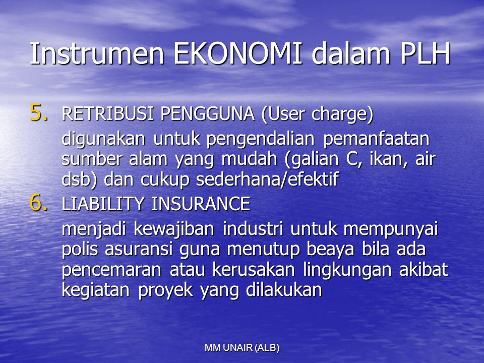 MM UNAIR (ALB) Instrumen EKONOMI dalam PLH 5. RETRIBUSI PENGGUNA (User charge) digunakan untuk pengendalian pemanfaatan sumber alam yang mudah (galian
