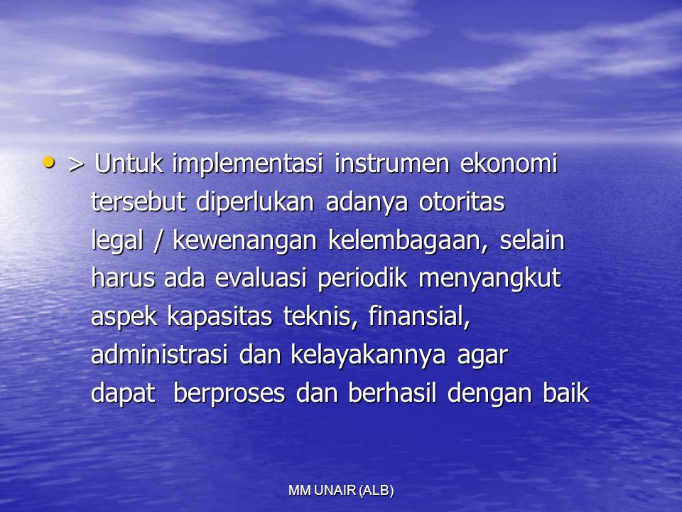 MM UNAIR (ALB) > Untuk implementasi instrumen ekonomi > Untuk implementasi instrumen ekonomi tersebut diperlukan adanya otoritas tersebut diperlukan adanya otoritas legal / kewenangan kelembagaan, selain legal / kewenangan kelembagaan, selain harus ada evaluasi periodik menyangkut harus ada evaluasi periodik menyangkut aspek kapasitas teknis, finansial, aspek kapasitas teknis, finansial, administrasi dan kelayakannya agar administrasi dan kelayakannya agar dapat berproses dan berhasil dengan baik dapat berproses dan berhasil dengan baik