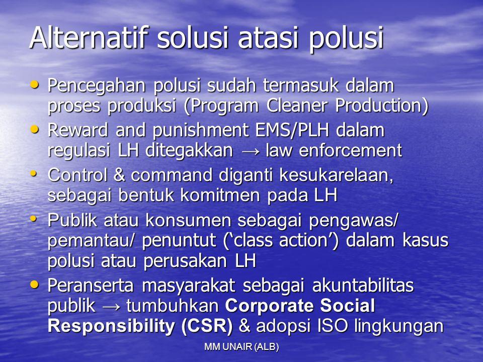 MM UNAIR (ALB) Alternatif solusi atasi polusi Pencegahan polusi sudah termasuk dalam proses produksi (Program Cleaner Production) Pencegahan polusi su
