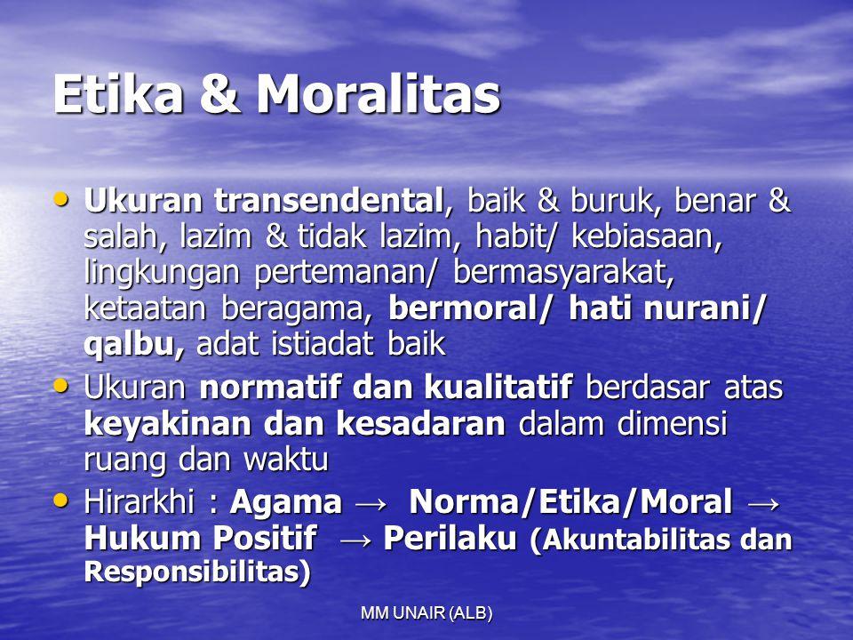 MM UNAIR (ALB) Etika & Moralitas Ukuran transendental, baik & buruk, benar & salah, lazim & tidak lazim, habit/ kebiasaan, lingkungan pertemanan/ bermasyarakat, ketaatan beragama, bermoral/ hati nurani/ qalbu, adat istiadat baik Ukuran transendental, baik & buruk, benar & salah, lazim & tidak lazim, habit/ kebiasaan, lingkungan pertemanan/ bermasyarakat, ketaatan beragama, bermoral/ hati nurani/ qalbu, adat istiadat baik Ukuran normatif dan kualitatif berdasar atas keyakinan dan kesadaran dalam dimensi ruang dan waktu Ukuran normatif dan kualitatif berdasar atas keyakinan dan kesadaran dalam dimensi ruang dan waktu Hirarkhi : Agama → Norma/Etika/Moral → Hukum Positif → Perilaku (Akuntabilitas dan Responsibilitas) Hirarkhi : Agama → Norma/Etika/Moral → Hukum Positif → Perilaku (Akuntabilitas dan Responsibilitas)