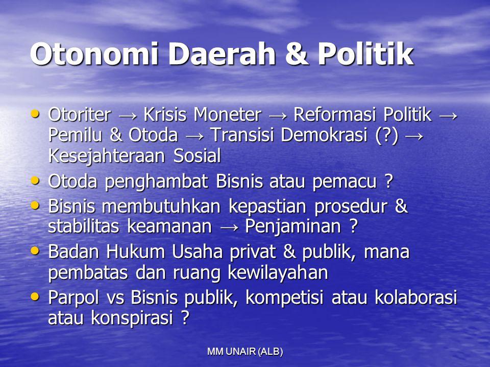 MM UNAIR (ALB) Otonomi Daerah & Politik Otoriter → Krisis Moneter → Reformasi Politik → Pemilu & Otoda → Transisi Demokrasi (?) → Kesejahteraan Sosial