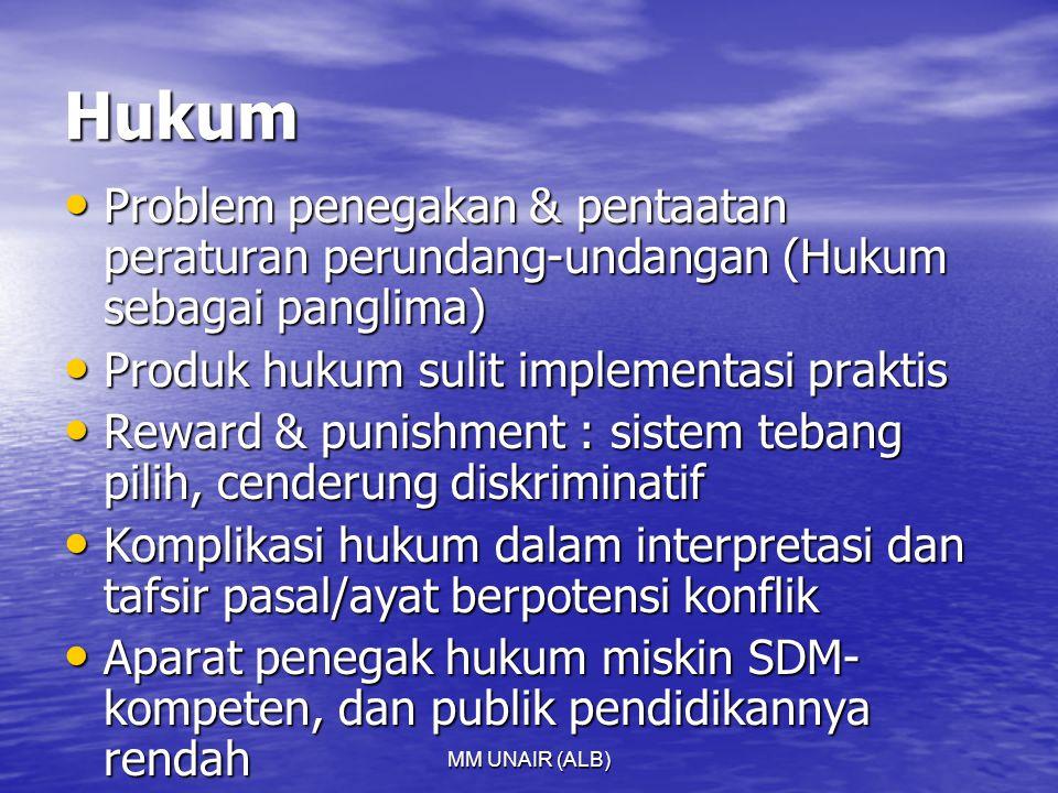 MM UNAIR (ALB) Hukum Problem penegakan & pentaatan peraturan perundang-undangan (Hukum sebagai panglima) Problem penegakan & pentaatan peraturan perundang-undangan (Hukum sebagai panglima) Produk hukum sulit implementasi praktis Produk hukum sulit implementasi praktis Reward & punishment : sistem tebang pilih, cenderung diskriminatif Reward & punishment : sistem tebang pilih, cenderung diskriminatif Komplikasi hukum dalam interpretasi dan tafsir pasal/ayat berpotensi konflik Komplikasi hukum dalam interpretasi dan tafsir pasal/ayat berpotensi konflik Aparat penegak hukum miskin SDM- kompeten, dan publik pendidikannya rendah Aparat penegak hukum miskin SDM- kompeten, dan publik pendidikannya rendah