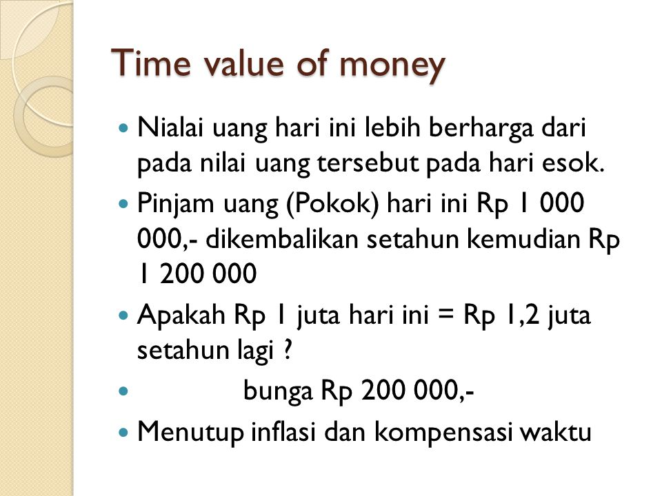 Time value of money Nialai uang hari ini lebih berharga dari pada nilai uang tersebut pada hari esok. Pinjam uang (Pokok) hari ini Rp 1 000 000,- dike