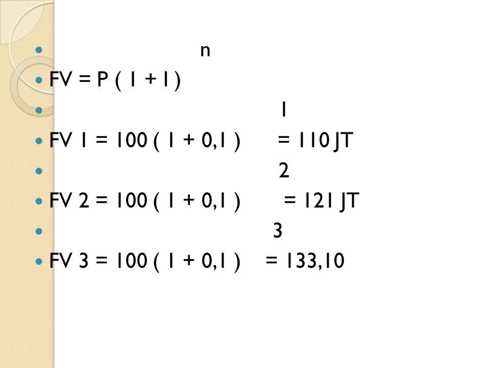 n FV = P ( 1 + I ) 1 FV 1 = 100 ( 1 + 0,1 ) = 110 JT 2 FV 2 = 100 ( 1 + 0,1 ) = 121 JT 3 FV 3 = 100 ( 1 + 0,1 ) = 133,10