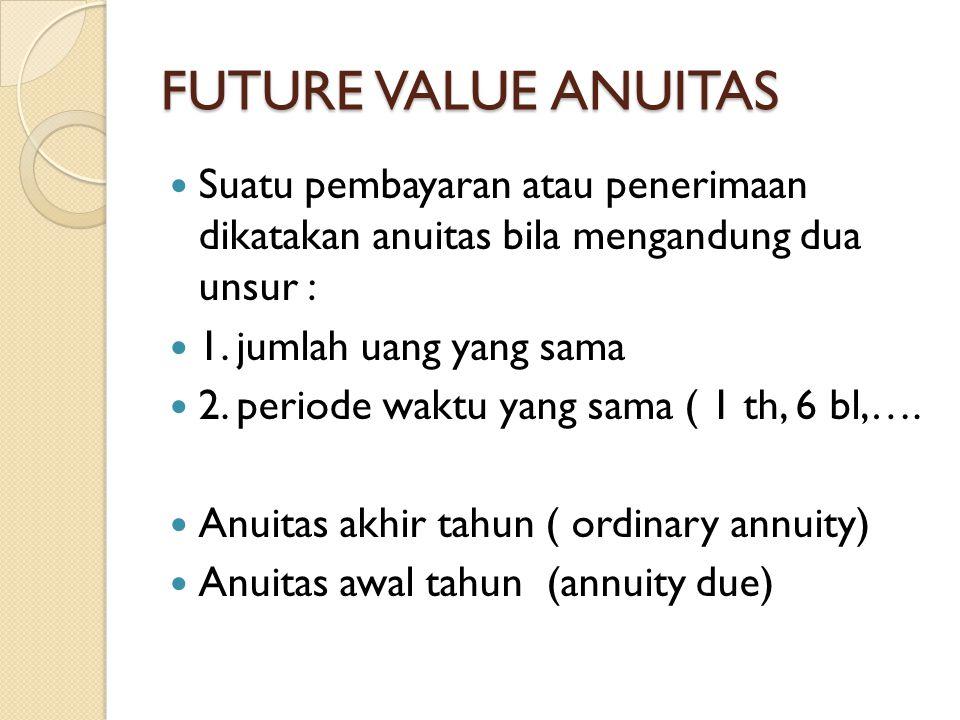 FUTURE VALUE ANUITAS Suatu pembayaran atau penerimaan dikatakan anuitas bila mengandung dua unsur : 1. jumlah uang yang sama 2. periode waktu yang sam