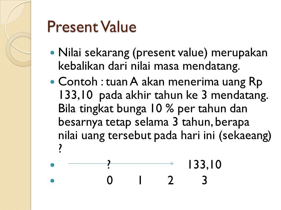 Present Value Nilai sekarang (present value) merupakan kebalikan dari nilai masa mendatang. Contoh : tuan A akan menerima uang Rp 133,10 pada akhir ta