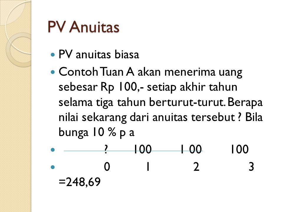PV Anuitas PV anuitas biasa Contoh Tuan A akan menerima uang sebesar Rp 100,- setiap akhir tahun selama tiga tahun berturut-turut. Berapa nilai sekara