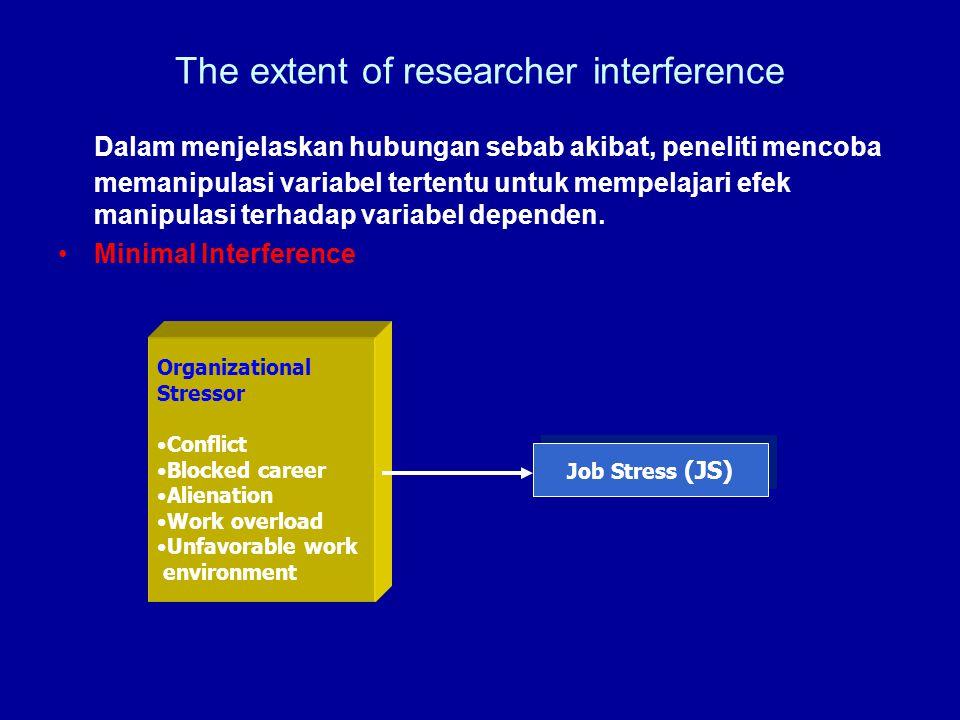 The extent of researcher interference Dalam menjelaskan hubungan sebab akibat, peneliti mencoba memanipulasi variabel tertentu untuk mempelajari efek manipulasi terhadap variabel dependen.