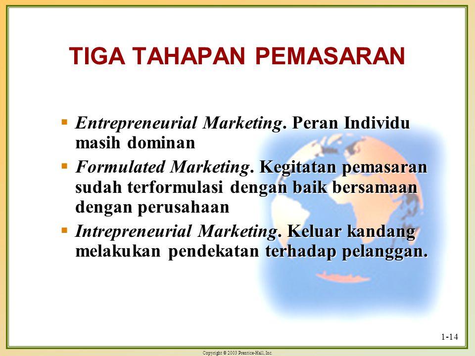 Copyright © 2003 Prentice-Hall, Inc. 1-14 TIGA TAHAPAN PEMASARAN  Entrepreneurial Marketing. Peran Individu masih dominan  Formulated Marketing. Keg