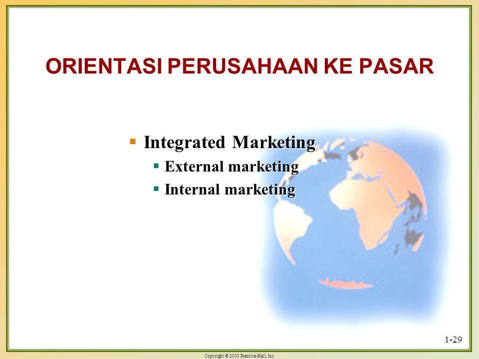 Copyright © 2003 Prentice-Hall, Inc. 1-29 ORIENTASI PERUSAHAAN KE PASAR  Integrated Marketing  External marketing  Internal marketing