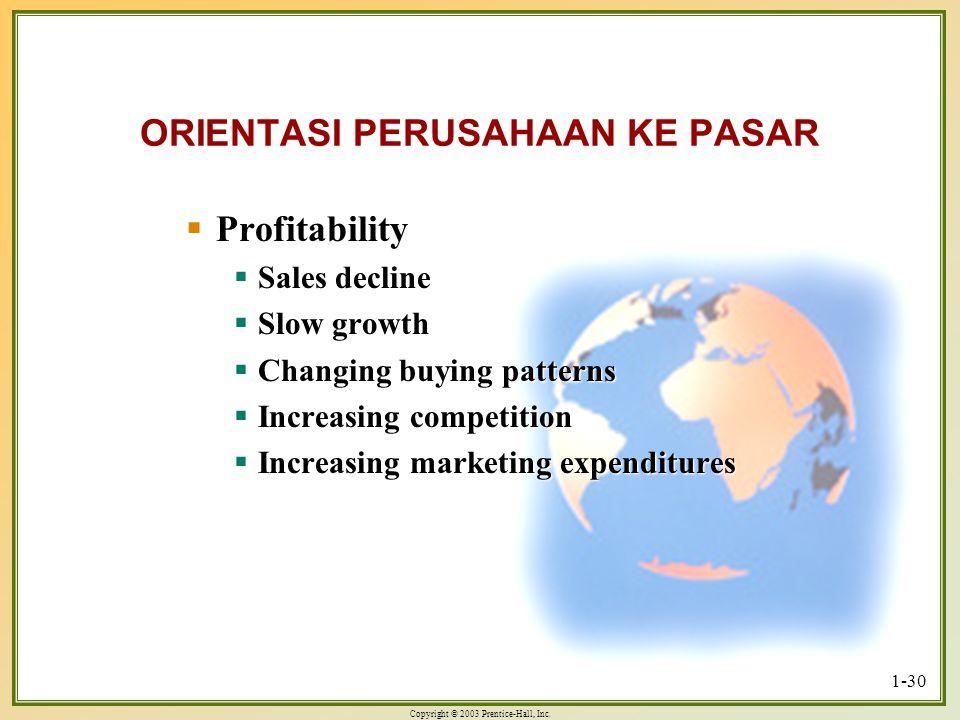 Copyright © 2003 Prentice-Hall, Inc. 1-30 ORIENTASI PERUSAHAAN KE PASAR  Profitability  Sales decline  Slow growth  Changing buying patterns  Inc