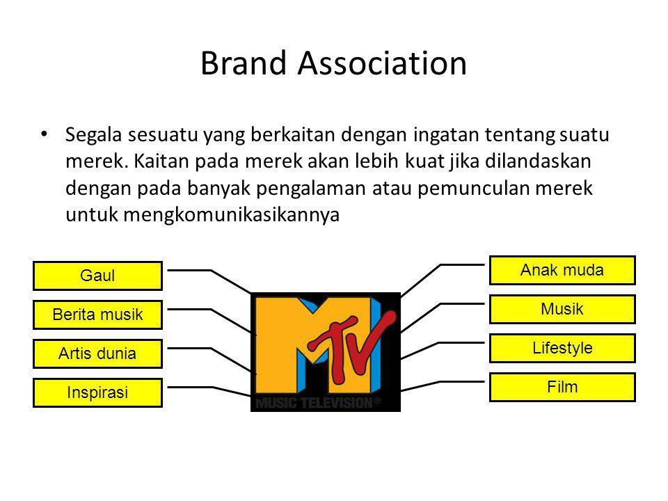 Brand Association Segala sesuatu yang berkaitan dengan ingatan tentang suatu merek. Kaitan pada merek akan lebih kuat jika dilandaskan dengan pada ban
