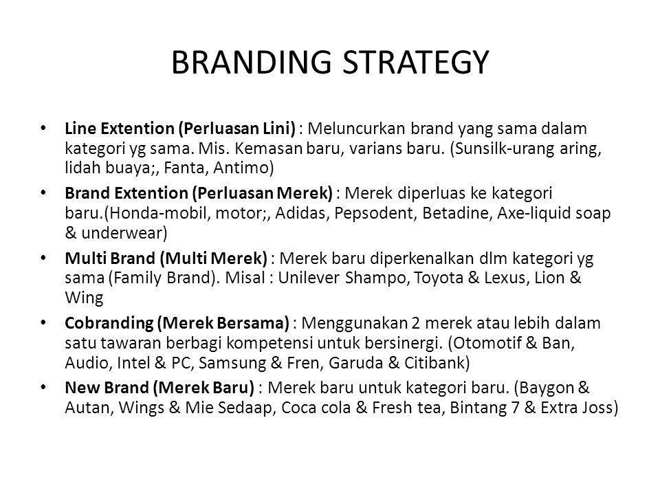 BRANDING STRATEGY Line Extention (Perluasan Lini) : Meluncurkan brand yang sama dalam kategori yg sama. Mis. Kemasan baru, varians baru. (Sunsilk-uran