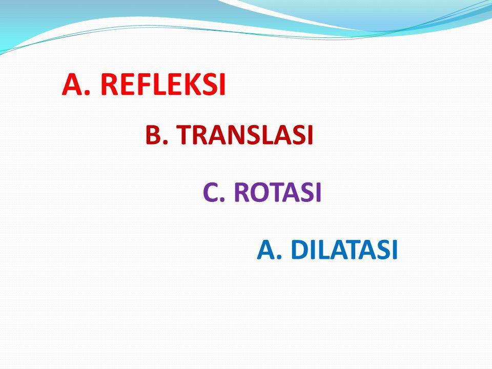 A. REFLEKSI A. DILATASI B. TRANSLASI C. ROTASI