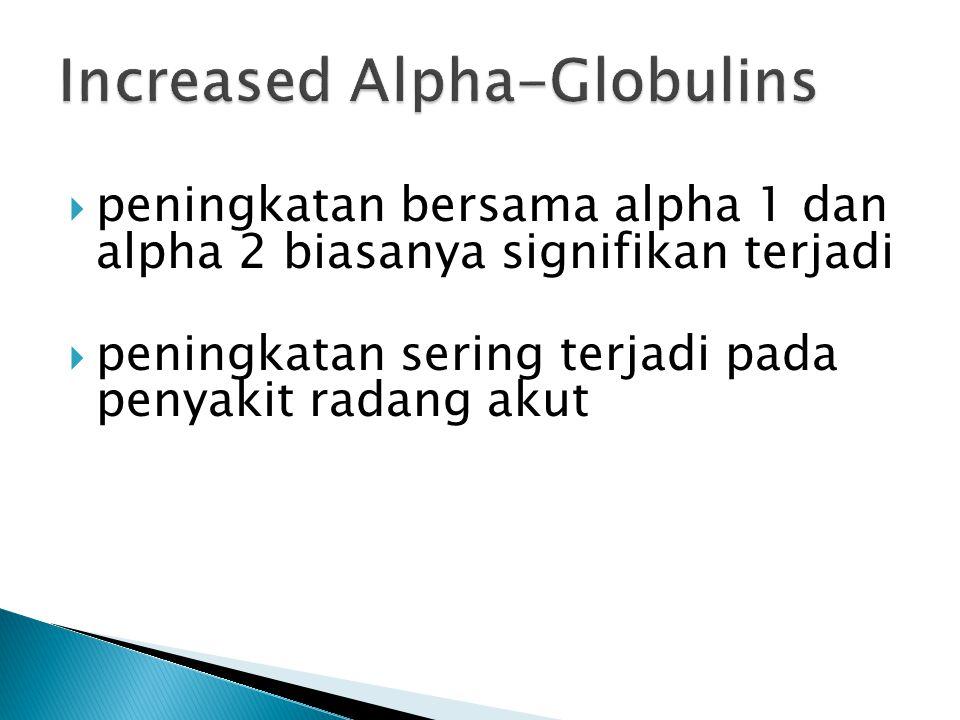  peningkatan bersama alpha 1 dan alpha 2 biasanya signifikan terjadi  peningkatan sering terjadi pada penyakit radang akut