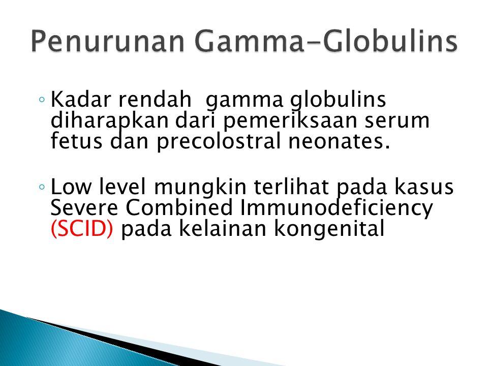 ◦ Kadar rendah gamma globulins diharapkan dari pemeriksaan serum fetus dan precolostral neonates. ◦ Low level mungkin terlihat pada kasus Severe Combi