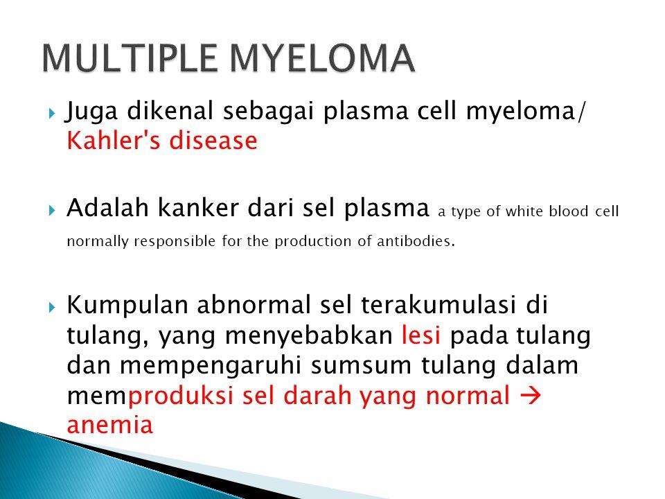  Juga dikenal sebagai plasma cell myeloma/ Kahler's disease  Adalah kanker dari sel plasma a type of white blood cell normally responsible for the p