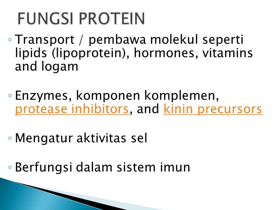 ◦ Transport / pembawa molekul seperti lipids (lipoprotein), hormones, vitamins and logam ◦ Enzymes, komponen komplemen, protease inhibitors, and kinin