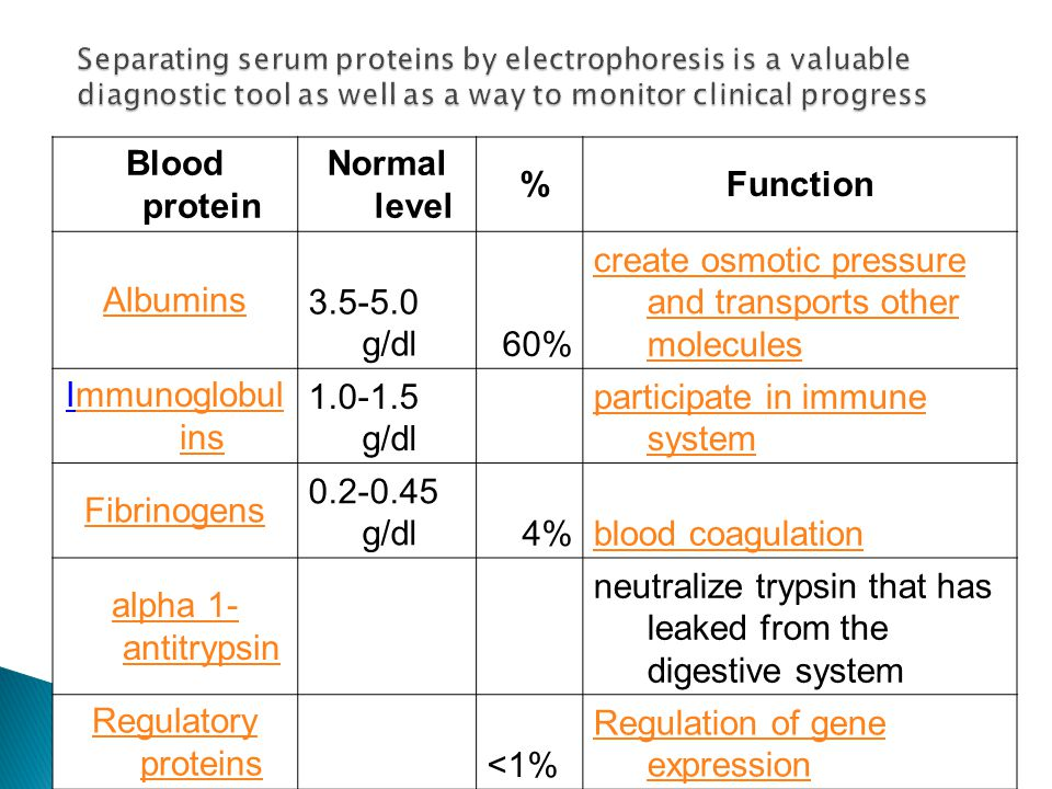 Blood protein Normal level %Function Albumins3.5-5.0 g/dl60% create osmotic pressure and transports other molecules Immunoglobul insmmunoglobul ins 1.0-1.5 g/dl participate in immune system Fibrinogens 0.2-0.45 g/dl4%blood coagulation alpha 1- antitrypsin neutralize trypsin that has leaked from the digestive system Regulatory proteins <1% Regulation of gene expression