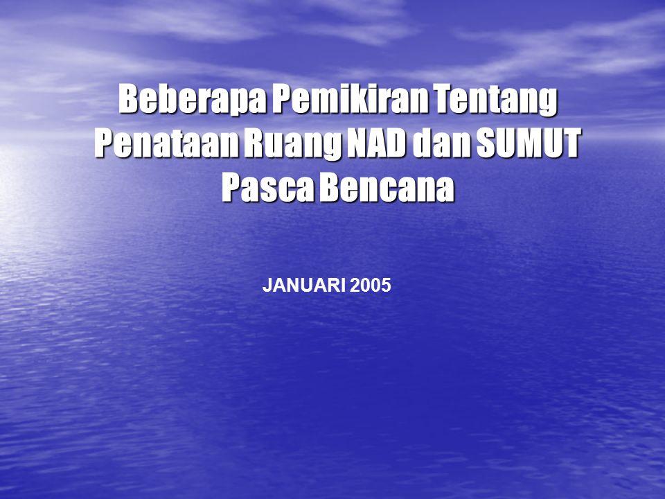 JANUARI 2005 Beberapa Pemikiran Tentang Penataan Ruang NAD dan SUMUT Pasca Bencana