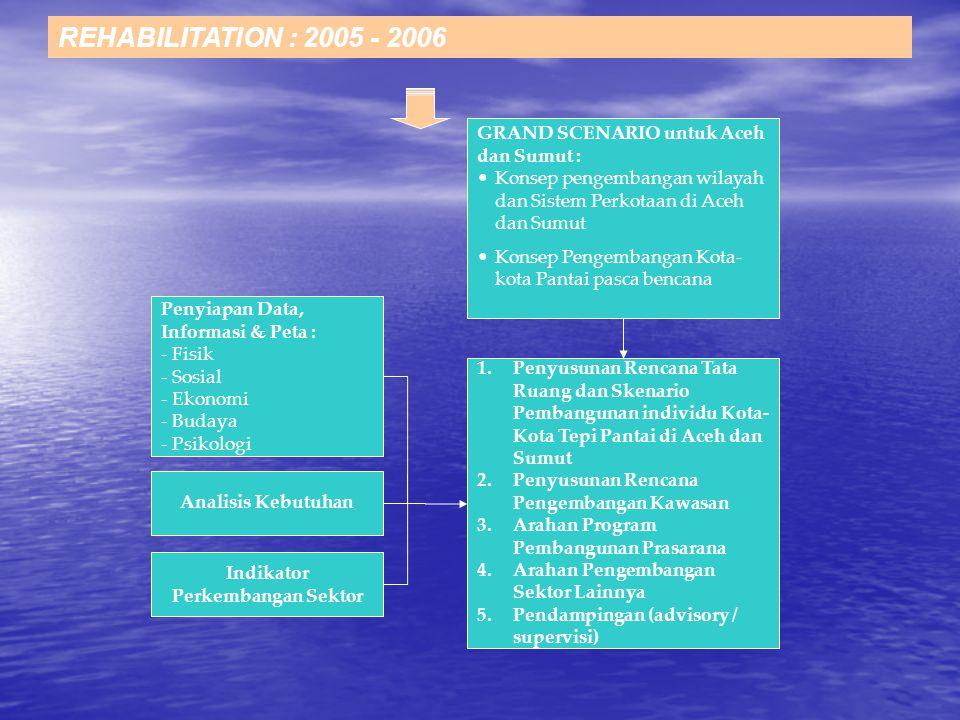 REHABILITATION : 2005 - 2006 Penyiapan Data, Informasi & Peta : - Fisik - Sosial - Ekonomi - Budaya - Psikologi 1.Penyusunan Rencana Tata Ruang dan Skenario Pembangunan individu Kota- Kota Tepi Pantai di Aceh dan Sumut 2.Penyusunan Rencana Pengembangan Kawasan 3.Arahan Program Pembangunan Prasarana 4.Arahan Pengembangan Sektor Lainnya 5.Pendampingan (advisory / supervisi) Konsep pengembangan wilayah dan Sistem Perkotaan di Aceh dan Sumut Konsep Pengembangan Kota- kota Pantai pasca bencana GRAND SCENARIO untuk Aceh dan Sumut : Analisis Kebutuhan Indikator Perkembangan Sektor