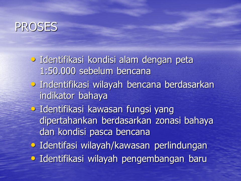 PROSES Identifikasi kondisi alam dengan peta 1:50.000 sebelum bencana Identifikasi kondisi alam dengan peta 1:50.000 sebelum bencana Indentifikasi wil