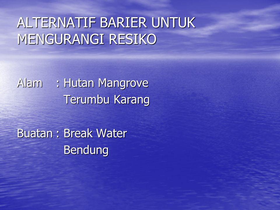 ALTERNATIF BARIER UNTUK MENGURANGI RESIKO Alam:Hutan Mangrove Terumbu Karang Buatan:Break Water Bendung