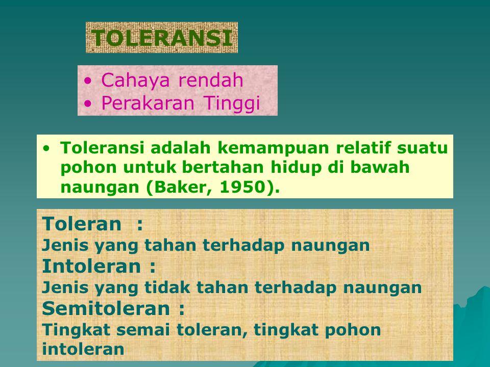 TOLERANSI Cahaya rendah Perakaran Tinggi Toleran : Jenis yang tahan terhadap naungan Intoleran : Jenis yang tidak tahan terhadap naungan Semitoleran :