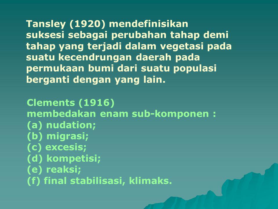 Tansley (1920) mendefinisikan suksesi sebagai perubahan tahap demi tahap yang terjadi dalam vegetasi pada suatu kecendrungan daerah pada permukaan bum