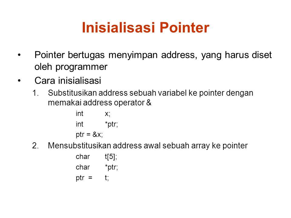 Inisialisasi Pointer Pointer bertugas menyimpan address, yang harus diset oleh programmer Cara inisialisasi 1.Substitusikan address sebuah variabel ke pointer dengan memakai address operator & int x; int *ptr; ptr = &x; 2.Mensubstitusikan address awal sebuah array ke pointer char t[5]; char*ptr; ptr = t;