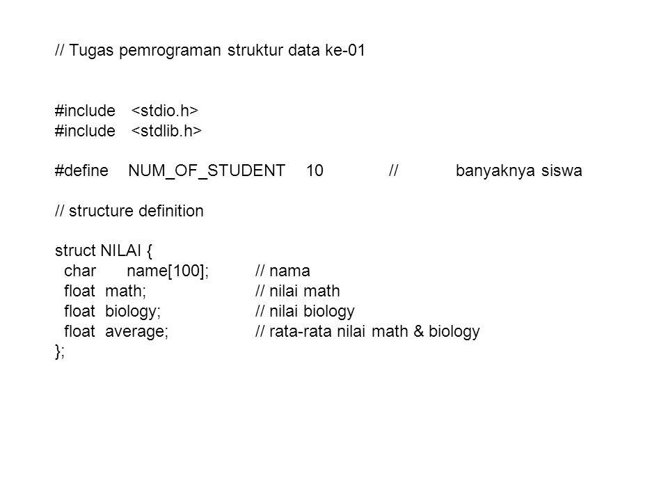 // Loading data void load_data(FILE *fp,struct NILAI x[]) { int i,j; // membaca data dari file baris per baris for(i=0;i<NUM_OF_STUDENT;i++) { if(fscanf(fp, %s %f %f ,&x[i].name,&x[i].math,&x[i].biology)!=3) { printf( banyaknya item tidak sesuai\n ); exit(1); } }