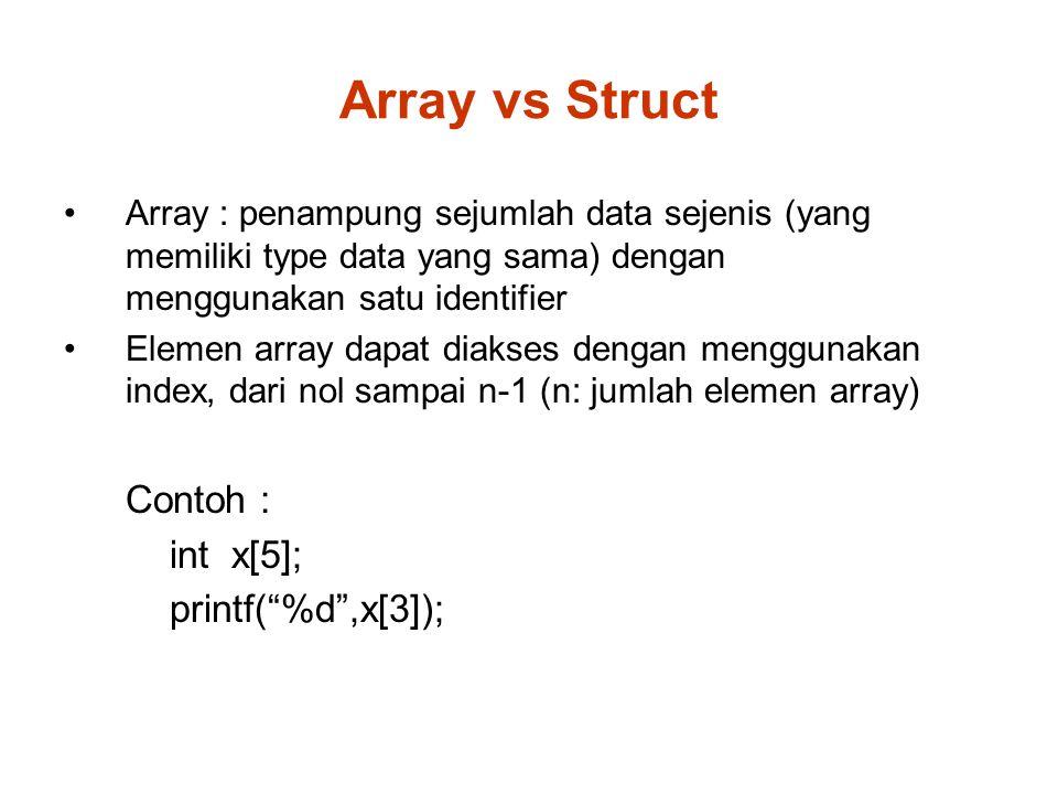 Array vs Struct Array : penampung sejumlah data sejenis (yang memiliki type data yang sama) dengan menggunakan satu identifier Elemen array dapat diakses dengan menggunakan index, dari nol sampai n-1 (n: jumlah elemen array) Contoh : int x[5]; printf( %d ,x[3]);