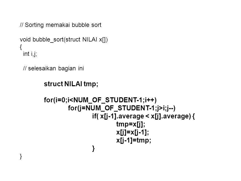typedef struct { int x; int y; } abcd; void main(){ abcd *p; p=(abcd*)malloc(n*sizeof(abcd)); proses komputasi free(p); } malloc STRUCT Space yang harus dialokasikan sebesar N x (banyaknya byte untuk type data abcd) pointer ke elemen pertama Alokasi untuk p[n]