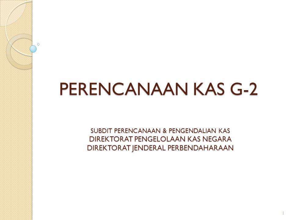 PERENCANAAN KAS G-2 SUBDIT PERENCANAAN & PENGENDALIAN KAS DIREKTORAT PENGELOLAAN KAS NEGARA DIREKTORAT JENDERAL PERBENDAHARAAN 1