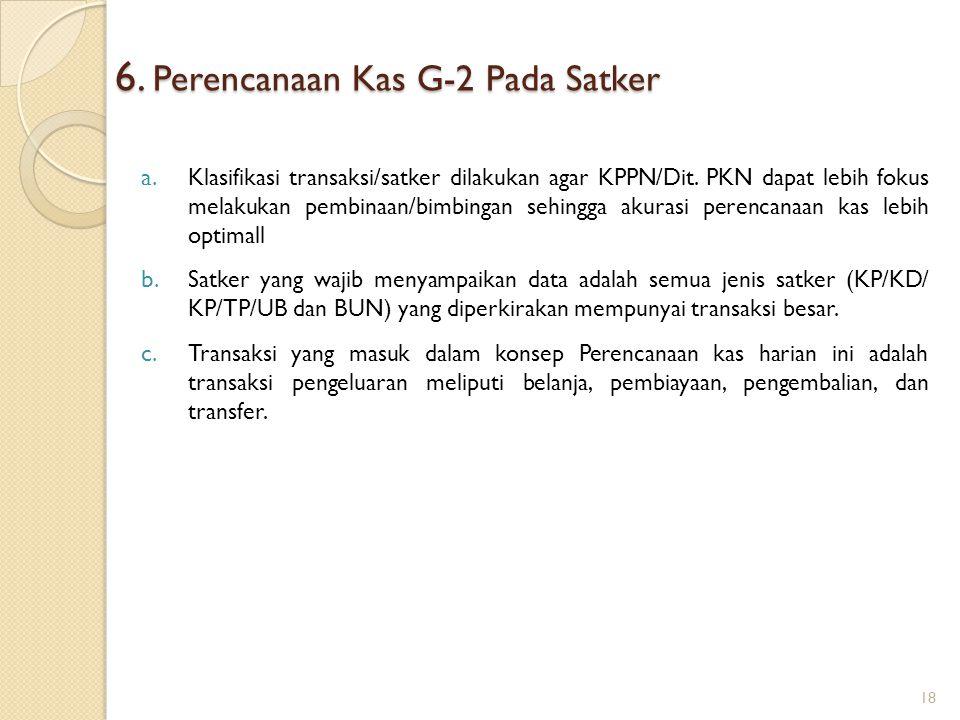 6. Perencanaan Kas G-2 Pada Satker a. Klasifikasi transaksi/satker dilakukan agar KPPN/Dit. PKN dapat lebih fokus melakukan pembinaan/bimbingan sehing
