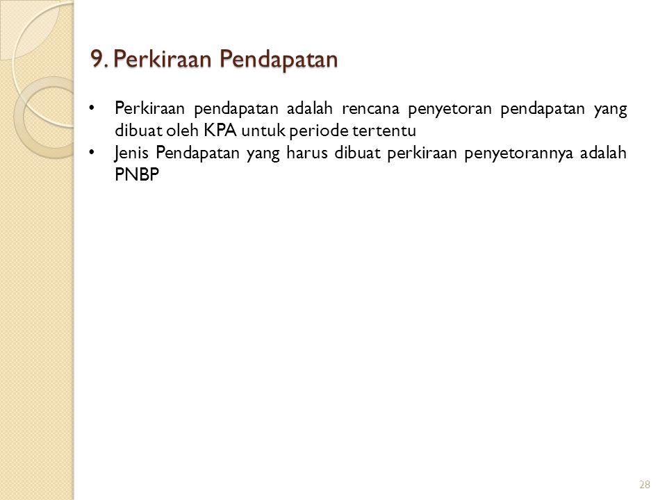9. Perkiraan Pendapatan 28 Perkiraan pendapatan adalah rencana penyetoran pendapatan yang dibuat oleh KPA untuk periode tertentu Jenis Pendapatan yang