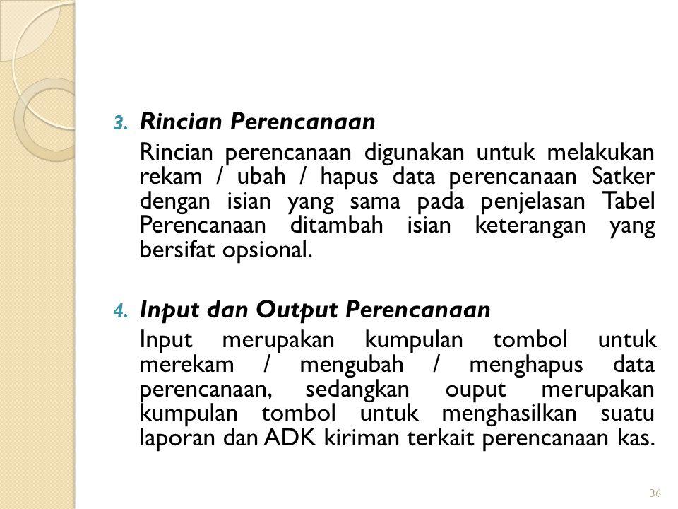 3. Rincian Perencanaan Rincian perencanaan digunakan untuk melakukan rekam / ubah / hapus data perencanaan Satker dengan isian yang sama pada penjelas