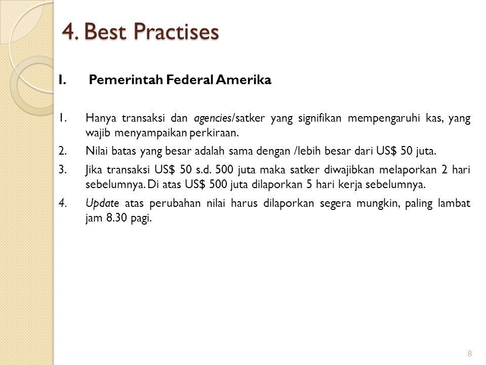 4. Best Practises I.Pemerintah Federal Amerika 1.Hanya transaksi dan agencies/satker yang signifikan mempengaruhi kas, yang wajib menyampaikan perkira